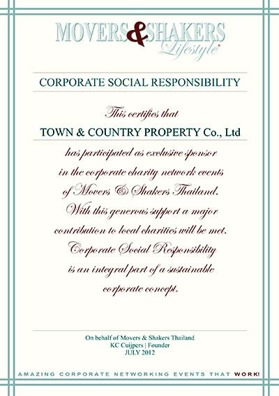 Corporate Social Responsibility, Town and Country Property Pattaya